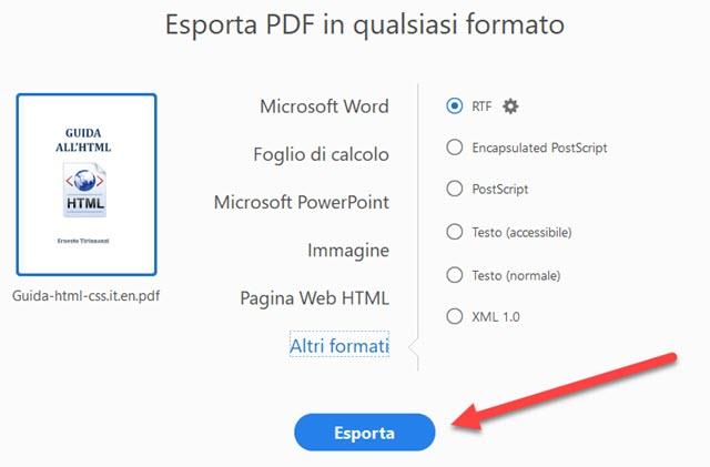esportazione pdf in file di altri formati