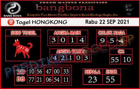Prediksi Bangbona Togel Hongkong Rabu 22 September 2021