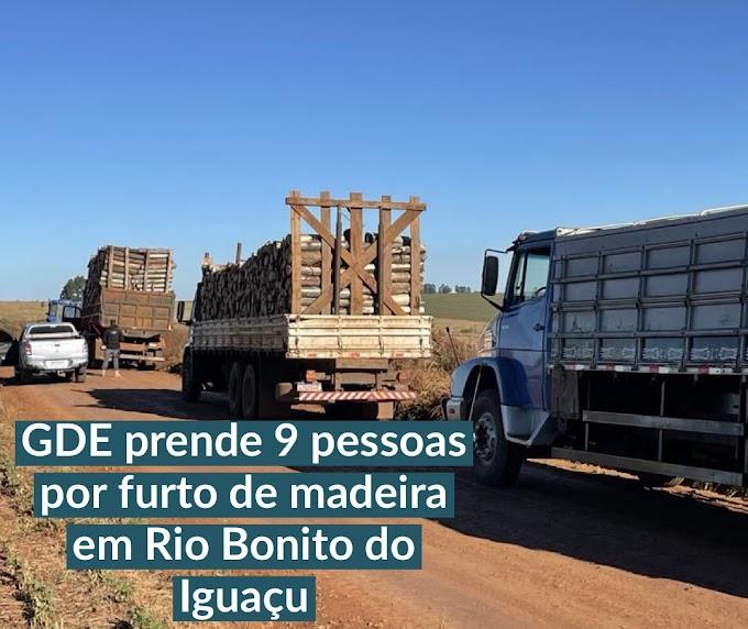 GDE prende 9 pessoas por furto de madeira em Rio Bonito do Iguaçu