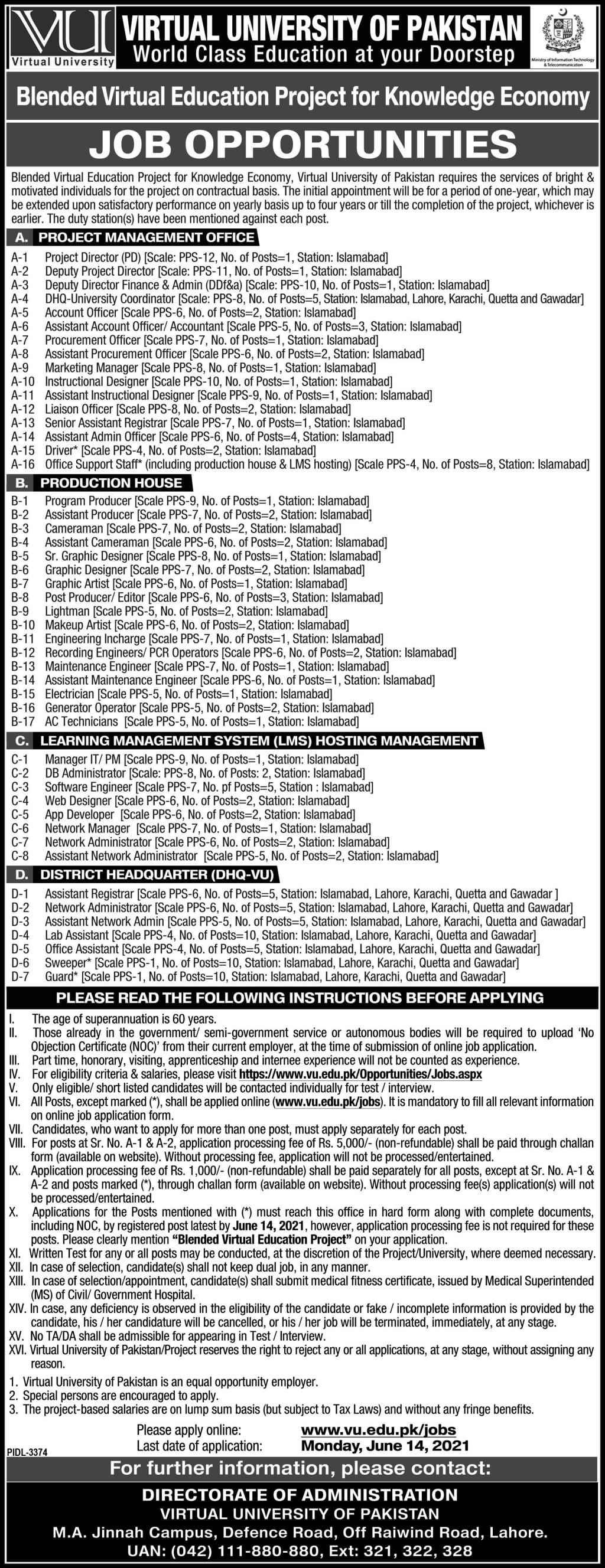 Virtual University of Pakistan VU Jobs 2021  130 Posts