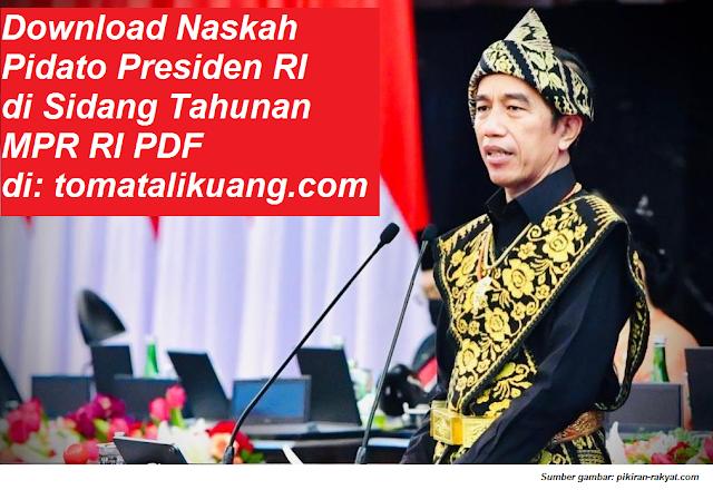Download Naskah Pidato Presiden RI di Sidang Tahunan MPR RI Tahun 2020 PDF tomatalikuang.com