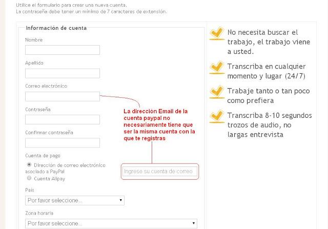Formulario con el cual podrás registrarte en Transcribeme.com