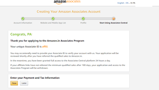 amazon affiliate final form for associate members  with associate id for selling the amazon product