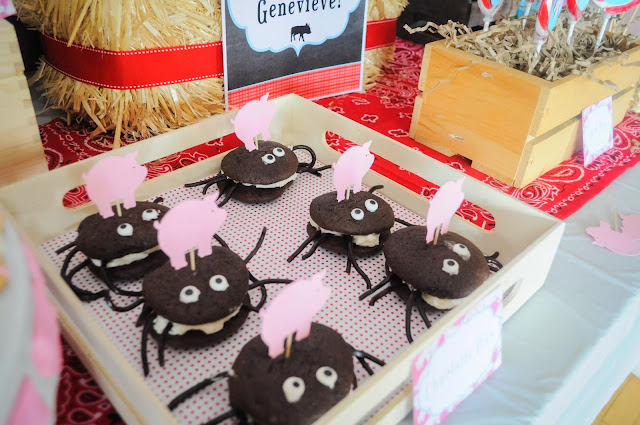 Spider web whoopee pies for a Charlotte's web birthday party