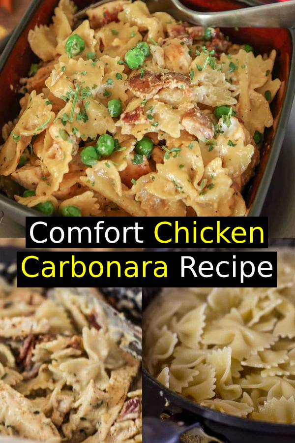 Comfort Chicken Carbonara recipe with Bacon, chicken and cheesy pasta perfection! An easy way to create a gourmet chicken dinner the entire family will enjoy! #chicken #chickenrecipe #comfortfood #dinner #maindish