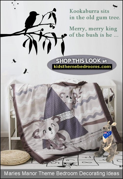 Koala Crib Baby Bedding Set kangaroo plush kookaburra wall decal australian nursery decorating