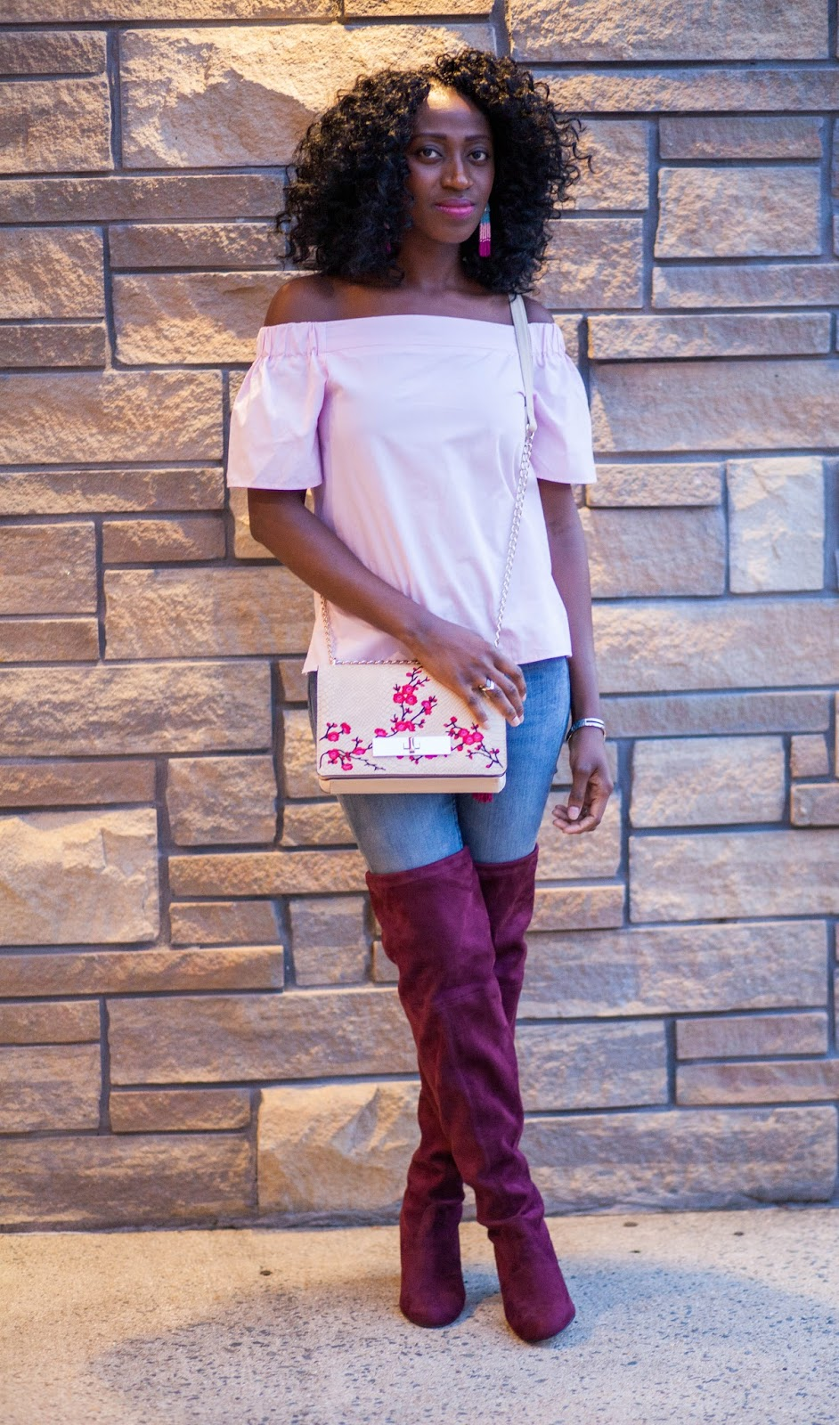 Pink Off Shoulder & Burgundy Thigh High Boot