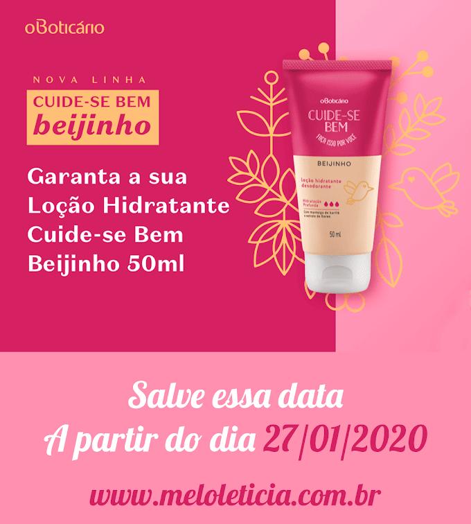 [Amostra grátis] Novo hidratante Cuide-se Bem Beijinho O boticário.