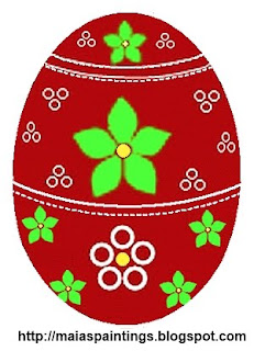 Red Easter egg with Flowers-egg painting template model