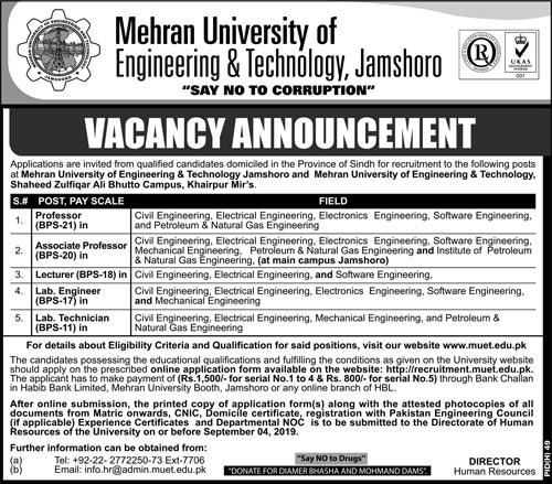 Latest Mehran University of Engineering & Technology Faculty Jobs 2019