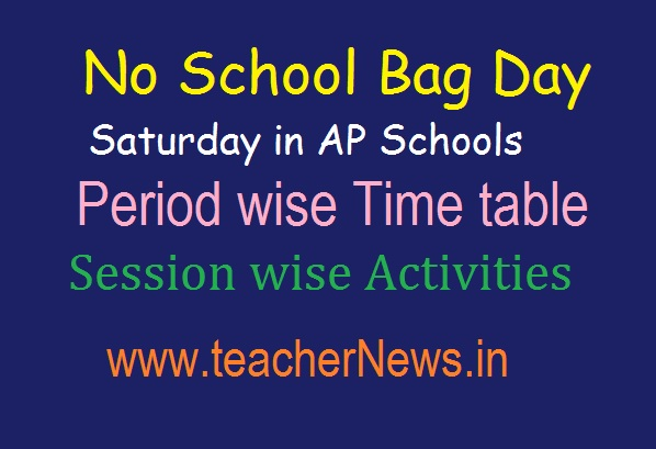 No School Bag Day in Saturday in AP Schools | సృజన Period wise Time table, Activities 2019