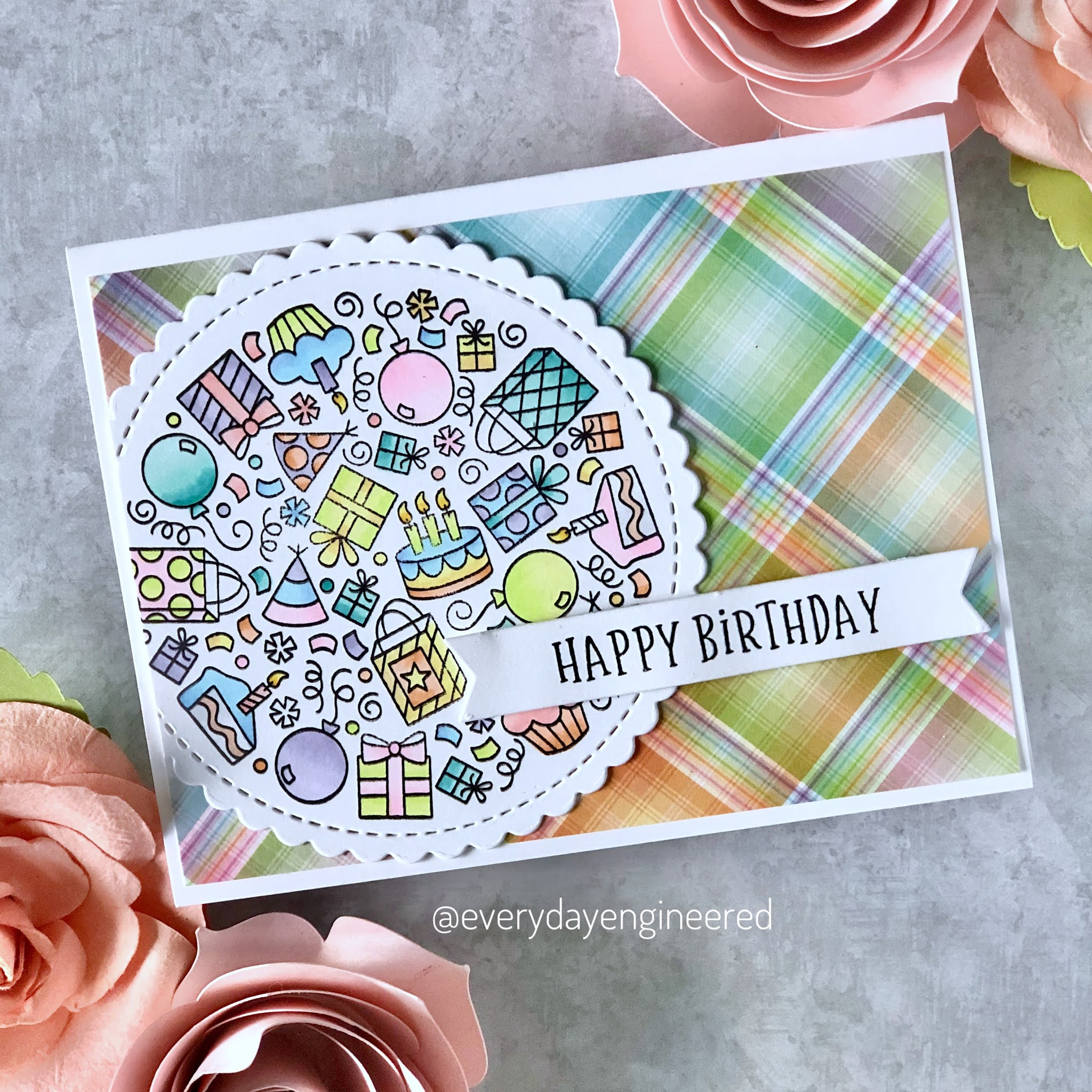 Pretty in Pastel Birthday Cards by October Guest Designer Farhana S | Birthday Roundabout Stamp Set by Newton's Nook Designs #newtonsnook
