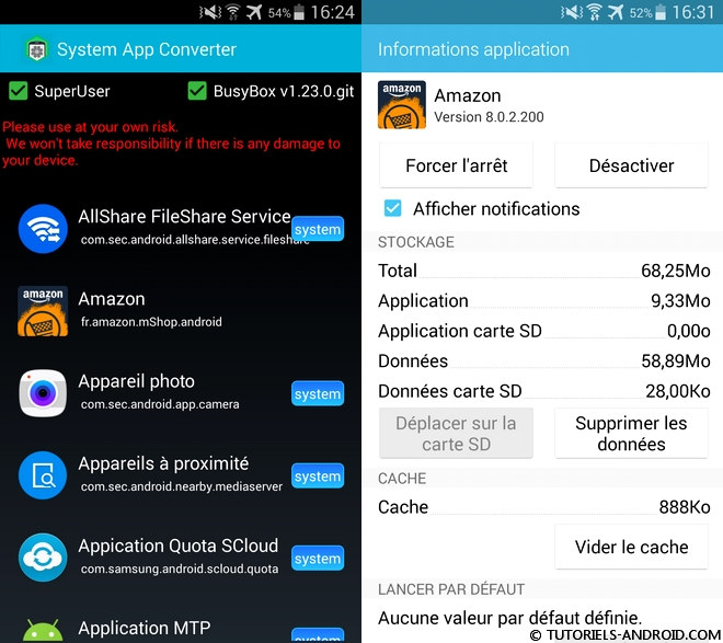 System App Converter pour Android
