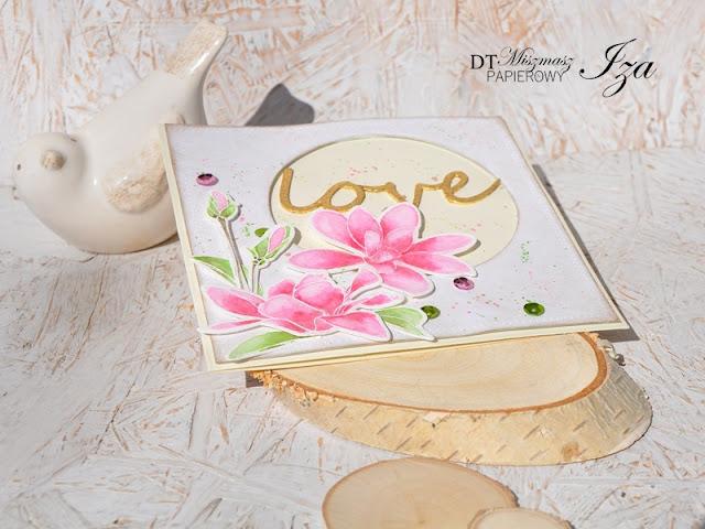 kartka z akwarelowymi kwiatami