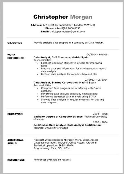 classic simple resume free