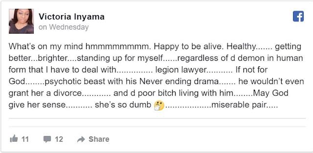 My husband assaults me but he won't give me a divorce - actress Victoria Inyama