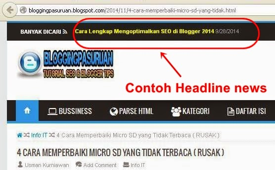 Cara Membuat Headline News Di Blog