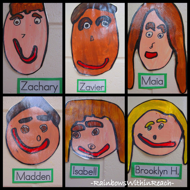 Self Portrait Painted Faces in Kindergarten via RainbowsWithinReach