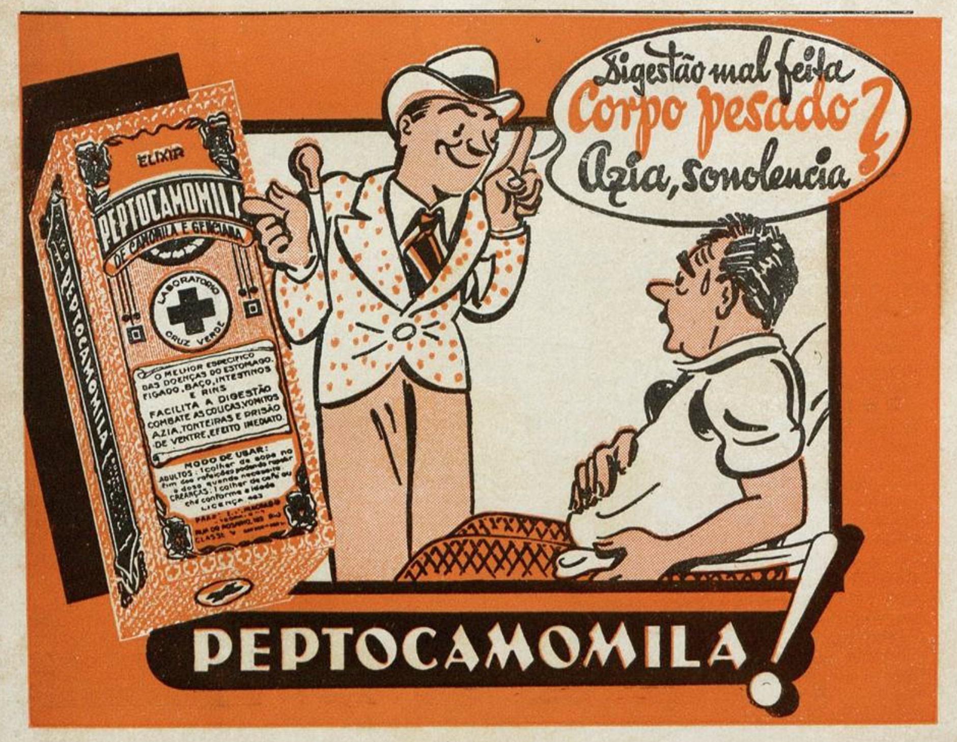 Propaganda antiga veiculada em 1939 para promover a Peptocamomila para os males estomacais