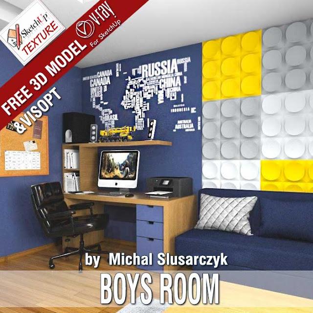 free SketchUp 3d model guys furniture