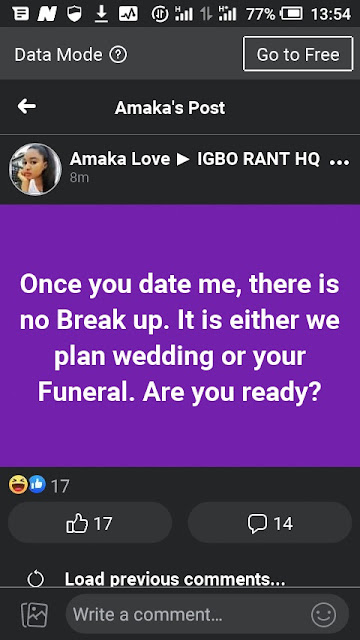 """""""Once You Date Me, It's Either Our Wedding Or Your Funeral"""" - Lady says"""""""