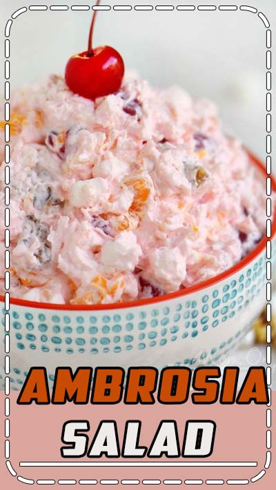 This delicious Ambrosia Salad is so easy to make and always a big hit with kids and adults alike! Made in just one bowl, this classic dessert salad is the perfection addition to your next gathering! // Mom On Timeout #recipe #ambrosia #dessert #nobake #desserts #recipes #momontimeout