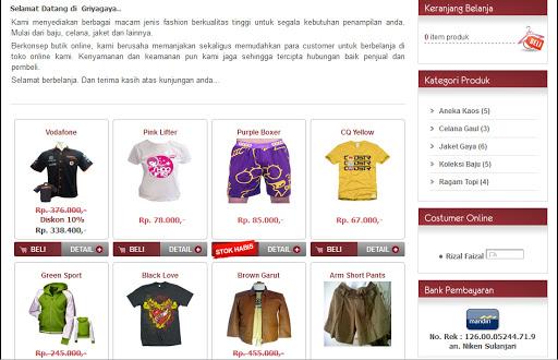 download source code program Toko Online Pakaian menggunakan php mysql