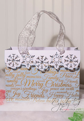 Gift bag with snowflakes on the border