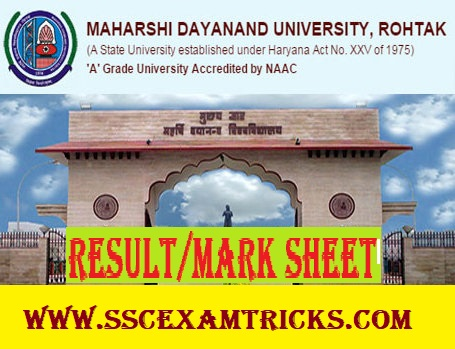 MDU Rohtak DDE/ Regular UG PG Exam Result