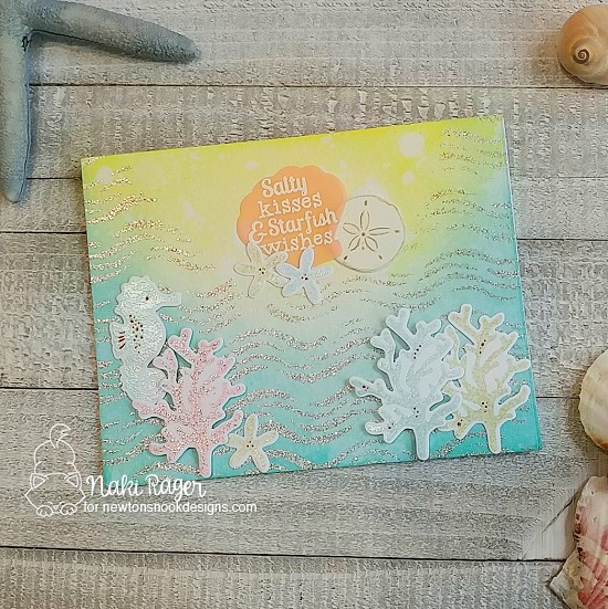 Newton's Nook Designs & WOW Embossing Powders Inspiration Week - Sparkly Sea card by Naki Rager | Tranquil Tides Stamp Set and Waves Stencil by Newton's Nook Designs with embossing powder by WOW! #newtonsnook #wowembossing
