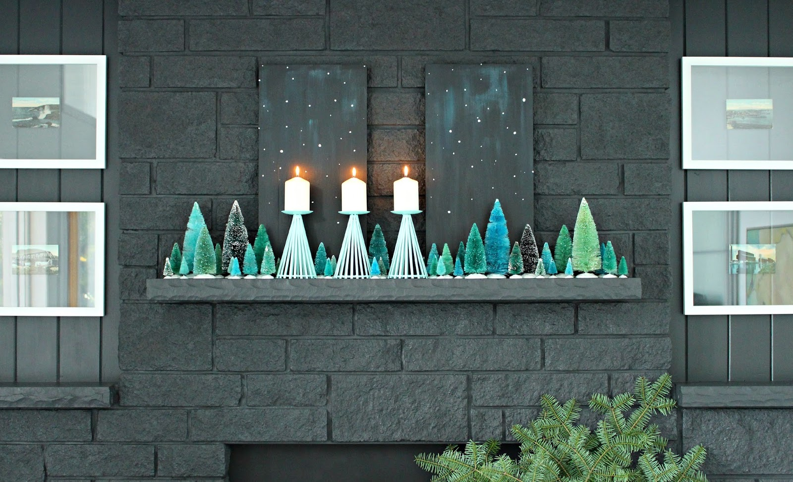 How to style a narrow mantle for the holidays