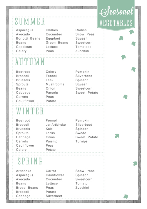 Free Printable Home Organizer - Seasonal Vegetables List
