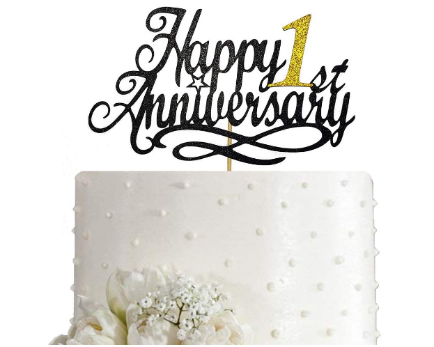 happy 1st anniversary cake topper