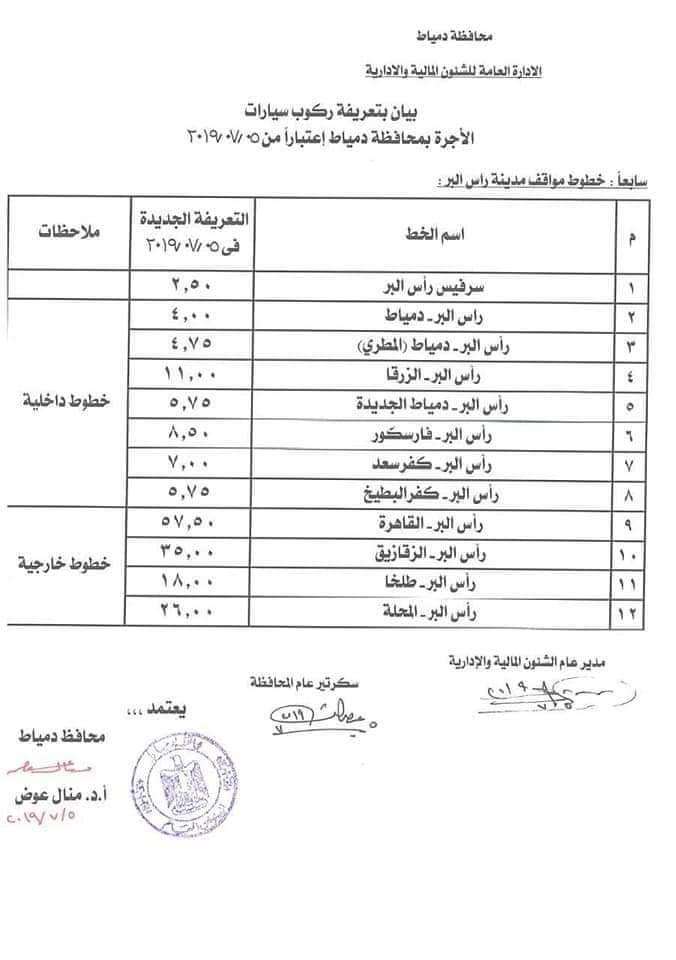 ننشر التعريفه الجديده للمواصلات داخل وبين المدن المصرية بعد زياده اسعار الوقود بجميع المحافظات FB_IMG_1562330236547