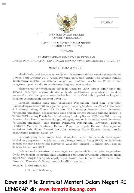 Instruksi Menteri Dalam Negeri Mendagri Nomor 1 Tahun 2021 tentang Pemberlakuan Pembatasan Kegiatan untuk Penyendalian Penyebaran Covid-19 PDF tomatalikuang.com