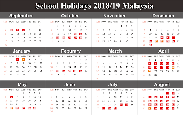Free Template School Holiday Calendar 2019 Malaysia