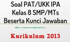 Download Soal PAT/UKK IPA Kelas 8 SMP/MTs K-13 Beserta Kunci Jawaban