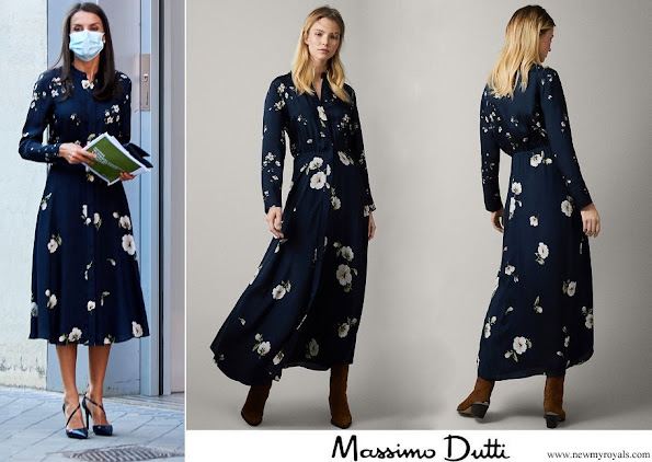Queen Letizia wore a floral print cupro dress from Massimo Dutti