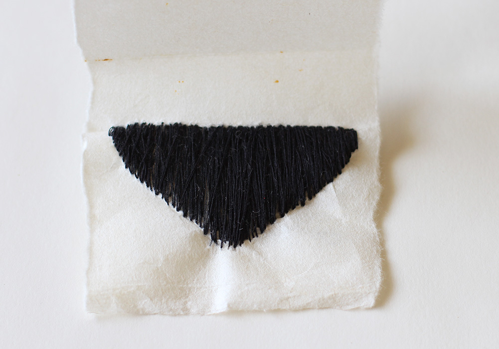 Void [2009], Little Undies series, ongoing. fabric & thread. 3.5 x 7cm