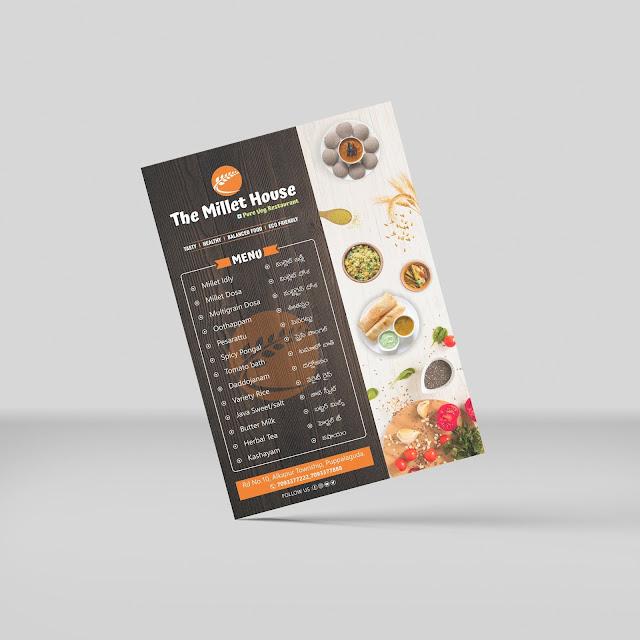 The Millet House Menu Card design by Cliq Creatives
