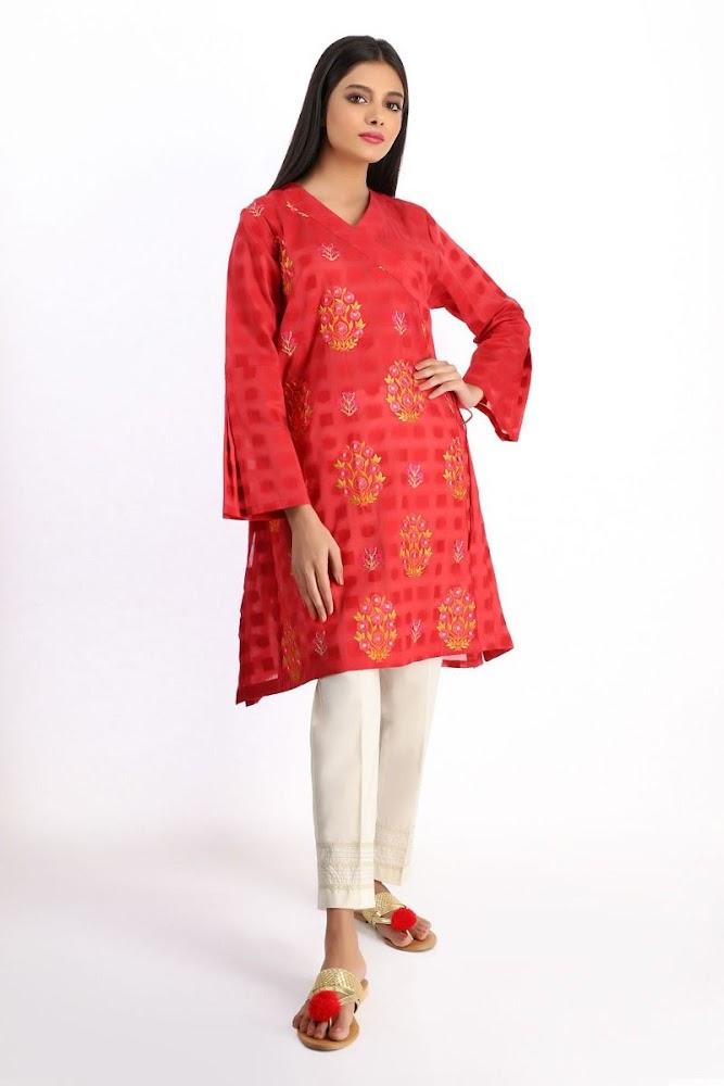khaadi Red embroidered kurta
