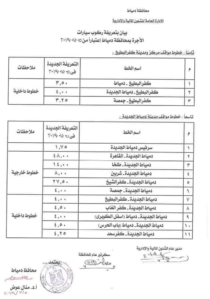 ننشر التعريفه الجديده للمواصلات داخل وبين المدن المصرية بعد زياده اسعار الوقود بجميع المحافظات FB_IMG_1562330226080