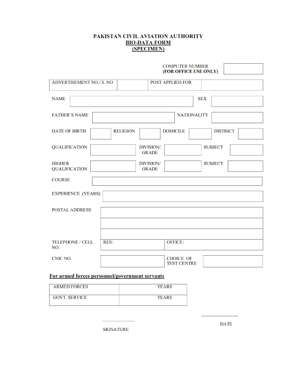 Bio Data Form Fpsc 2019