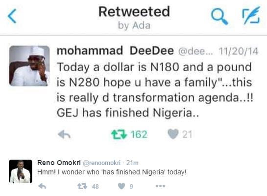 Reno Omokri reminds Mohammad DeeDee of his tweet in 2014