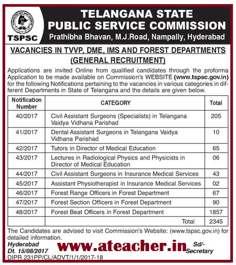 TSPSC 1857 Posts in Forest Department Recruitment 2017 Apply@ www.tspsc.gov.in