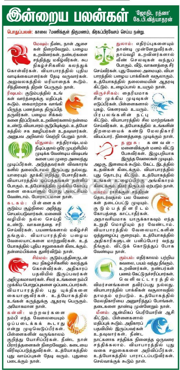 Daily Tamil Rasipalan from Tamil Daily Newspaper Dinakaran
