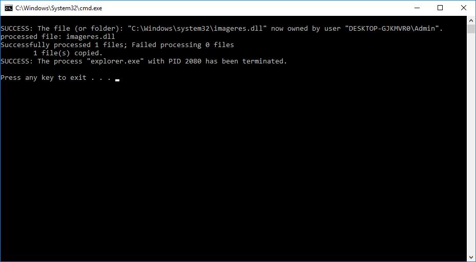 Hướng dẫn tạo tập tin batch thay thế tệp imageres.dll hệ thống bằng tệp imageres.dll khác