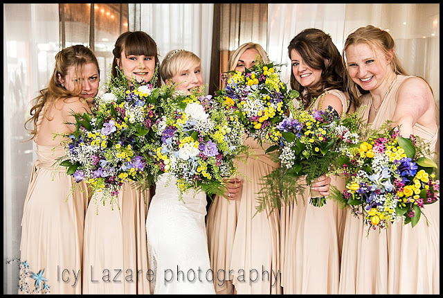 Bride, bridesmaids and bouquet