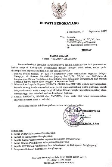 Surat Edaran Pltbupati Bengkayang Tanggal 11 September 2019