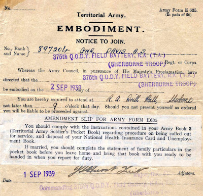 WW2 Territorial Army, Notice to Join, Embodiment